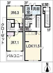 モンテローザI[3階]の間取り