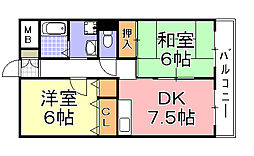 パークサイド御崎[2階]の間取り