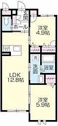 シャーメゾンガーデン福島[B105号室]の間取り