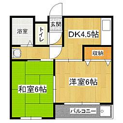 京都府京都市山科区大宅関生町の賃貸マンションの間取り