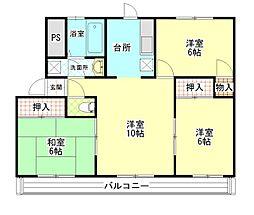 里川口レジデンス[305号室]の間取り