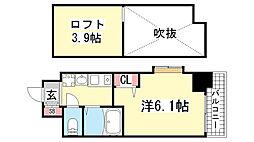 エステムコート神戸県庁前3フィエルテ[2階]の間取り