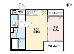 Osaka Metro今里筋線 瑞光四丁目駅 徒歩10分の賃貸アパート 1階1LDKの間取り