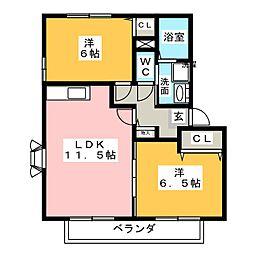 サザンクロスII A棟[2階]の間取り