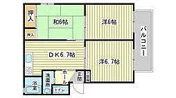 エコーズユタカ A棟[201号室]の間取り