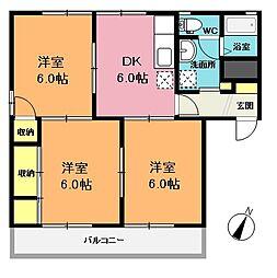 コーポヤマトF棟[1階]の間取り