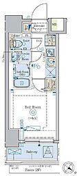 京急本線 北品川駅 徒歩2分の賃貸マンション 6階1Kの間取り