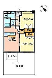 茨城県つくばみらい市板橋の賃貸アパートの間取り