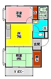 プレシャスハイムハシヅメ 3階2DKの間取り