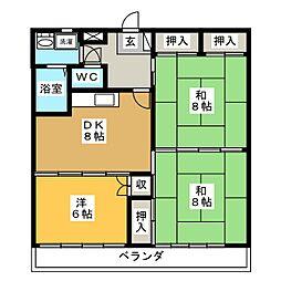クレセント多賀城[4階]の間取り