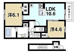 JR片町線(学研都市線) 木津駅 徒歩20分の賃貸アパート 2階2LDKの間取り
