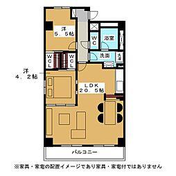 セレーナ香[4階]の間取り