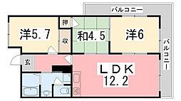 兵庫県姫路市網干区垣内中町の賃貸マンションの間取り