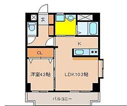 テンダーマンションスリー[206号室]の間取り