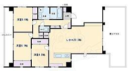 京都地下鉄東西線 京都市役所前駅 徒歩2分の賃貸マンション 9階3LDKの間取り
