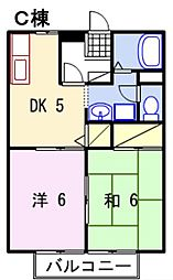 兵庫県相生市向陽台の賃貸アパートの間取り