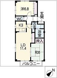 リューネA棟[2階]の間取り