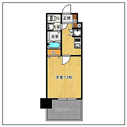 福岡市地下鉄七隈線 渡辺通駅 徒歩7分の賃貸マンション 14階1Kの間取り