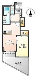 名鉄尾西線 森上駅 徒歩7分の賃貸アパート 1階1LDKの間取り
