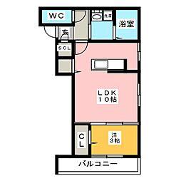 仮)D-room加納徳川町Y 3階1LDKの間取り