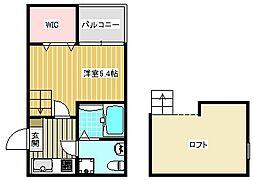 大阪府大阪市住之江区北島1丁目の賃貸アパートの間取り