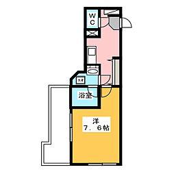 新宿夏目坂コート 4階1Kの間取り