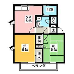 コーポアート[2階]の間取り