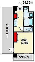 SANBOX 大浦 4階1Kの間取り