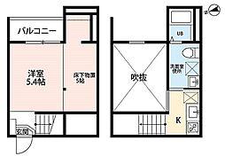 JR中央本線 新守山駅 徒歩7分の賃貸アパート 2階1SKの間取り