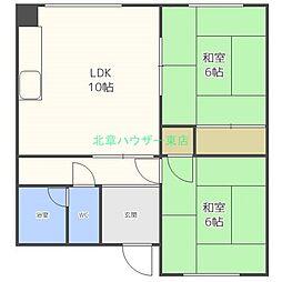 北海道札幌市東区北二十二条東23丁目の賃貸アパートの間取り