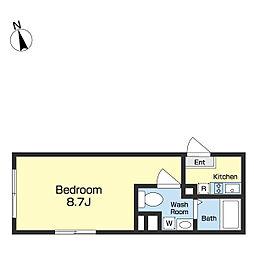 JR京葉線 越中島駅 徒歩8分の賃貸マンション 5階ワンルームの間取り