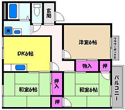 兵庫県芦屋市西蔵町の賃貸アパートの間取り