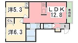 ラメゾンドゥアミーB棟[102号室]の間取り