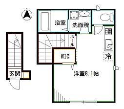 JR総武線 東中野駅 徒歩7分の賃貸アパート 2階ワンルームの間取り