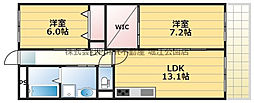 ハイム上福島 3階2LDKの間取り