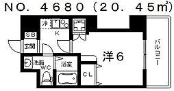 ブリリアントコート西田辺[8階]の間取り