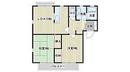 大阪府高槻市西町の賃貸アパートの間取り