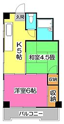 埼玉県所沢市弥生町の賃貸マンションの間取り