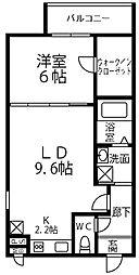 南海高野線 大阪狭山市駅 徒歩10分の賃貸アパート 2階1LDKの間取り