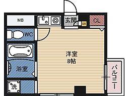 倉田ハイツ司 2階ワンルームの間取り