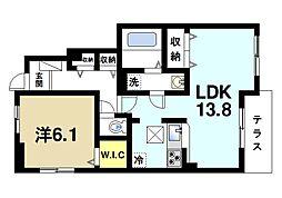 西登美ヶ丘6丁目アパートI[1階]の間取り