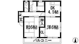 スカイハイツ碓井[2階]の間取り