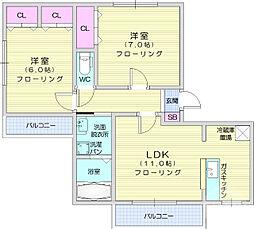 グランシャリオ 2階2LDKの間取り