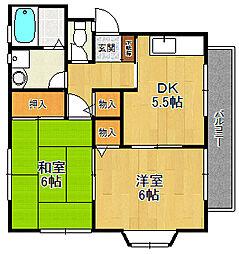 兵庫県西宮市上甲子園3丁目の賃貸アパートの間取り