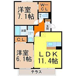 愛知県名古屋市東区大幸3丁目の賃貸アパートの間取り