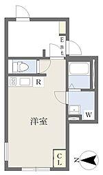 東急田園都市線 三軒茶屋駅 徒歩8分の賃貸マンション 1階ワンルームの間取り