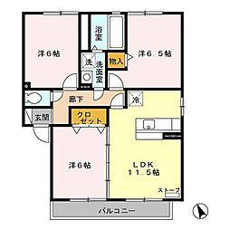 アバンサード B[1階]の間取り