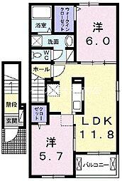 岡山県岡山市南区藤田丁目なしの賃貸アパートの間取り