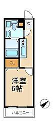 千葉県松戸市北松戸1丁目の賃貸アパートの間取り
