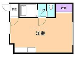 華コーポ 2階ワンルームの間取り